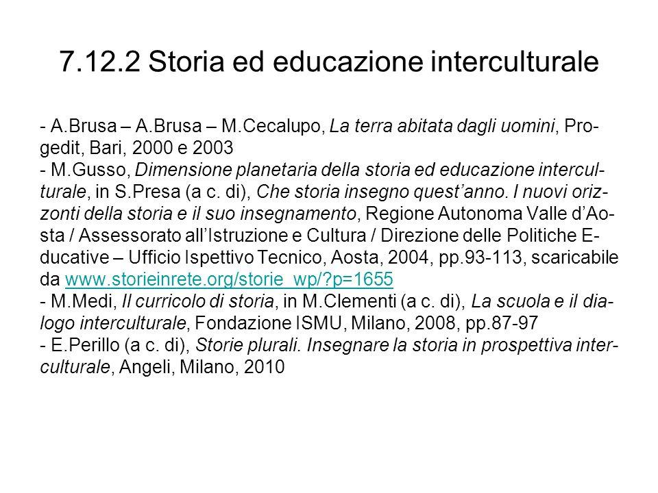 7.12.2 Storia ed educazione interculturale