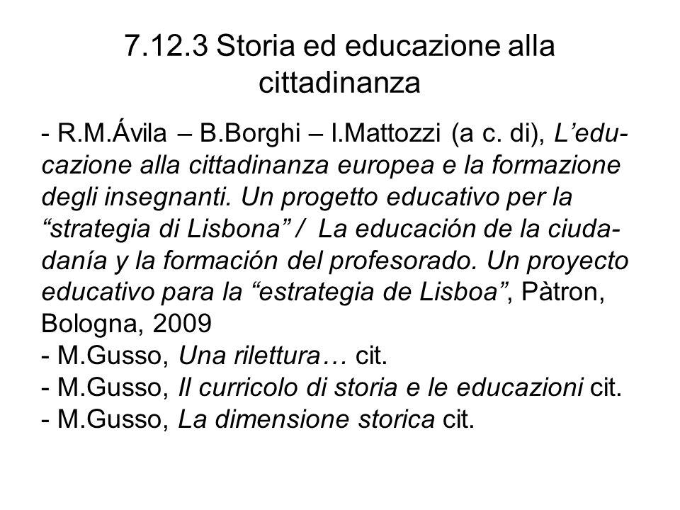 7.12.3 Storia ed educazione alla cittadinanza