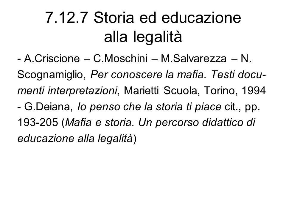 7.12.7 Storia ed educazione alla legalità