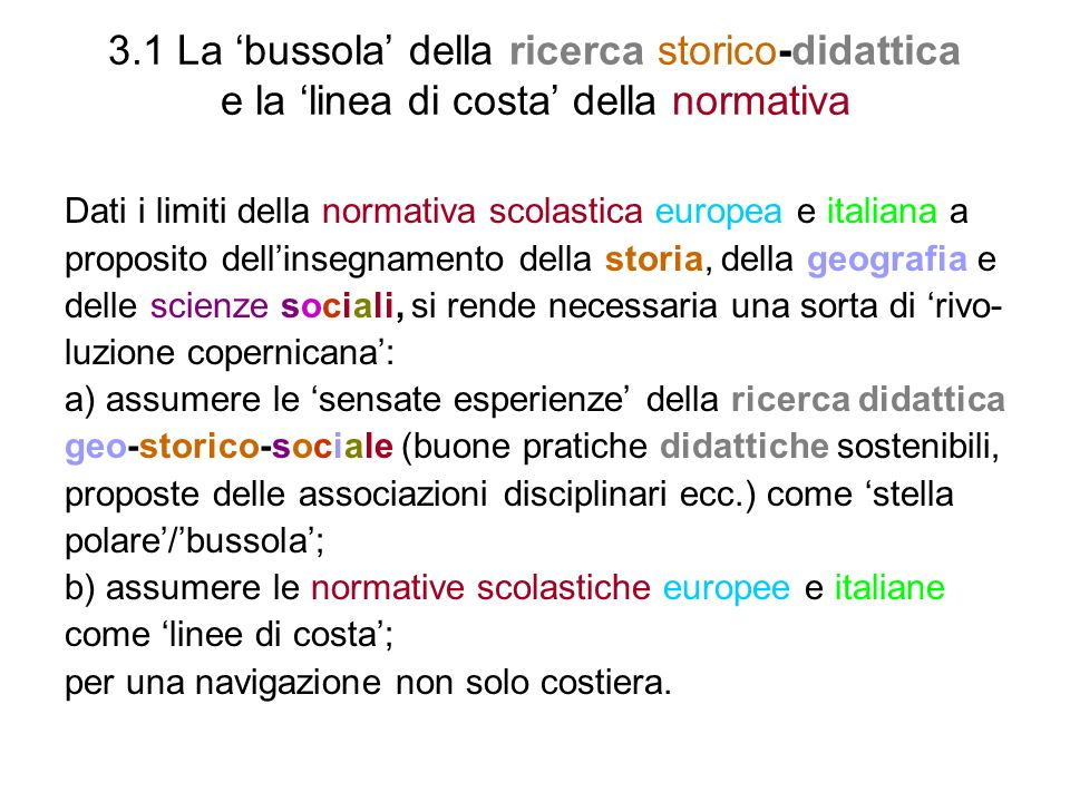 3.1 La 'bussola' della ricerca storico-didattica e la 'linea di costa' della normativa