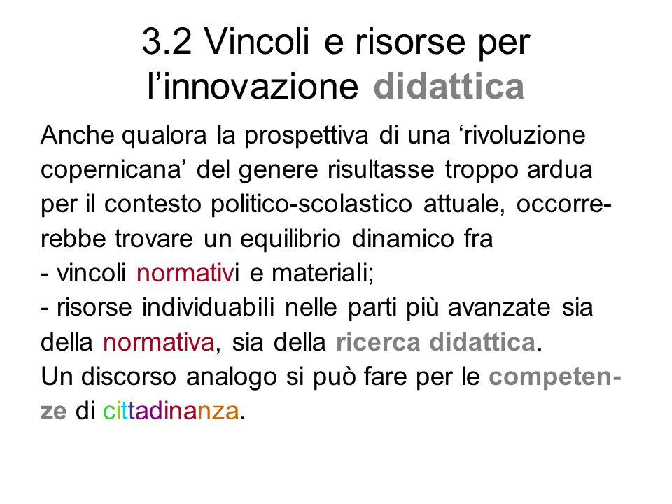 3.2 Vincoli e risorse per l'innovazione didattica