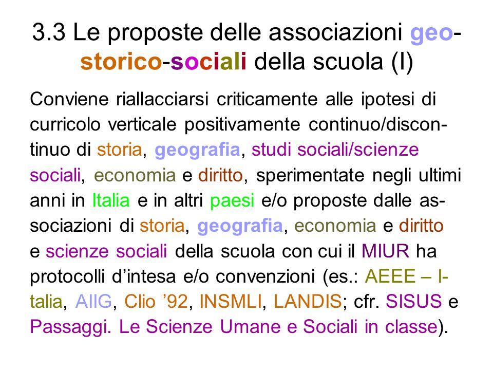 3.3 Le proposte delle associazioni geo-storico-sociali della scuola (I)