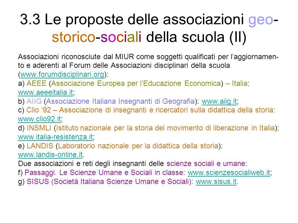 3.3 Le proposte delle associazioni geo-storico-sociali della scuola (II)
