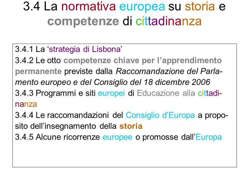 3.4 La normativa europea su storia e competenze di cittadinanza