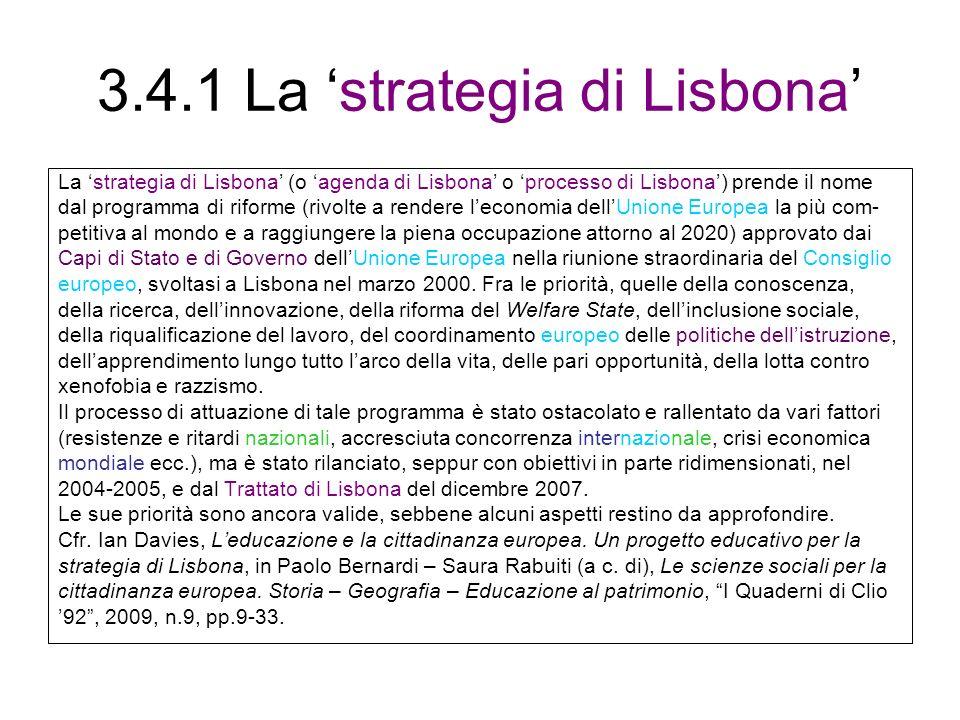 3.4.1 La 'strategia di Lisbona'
