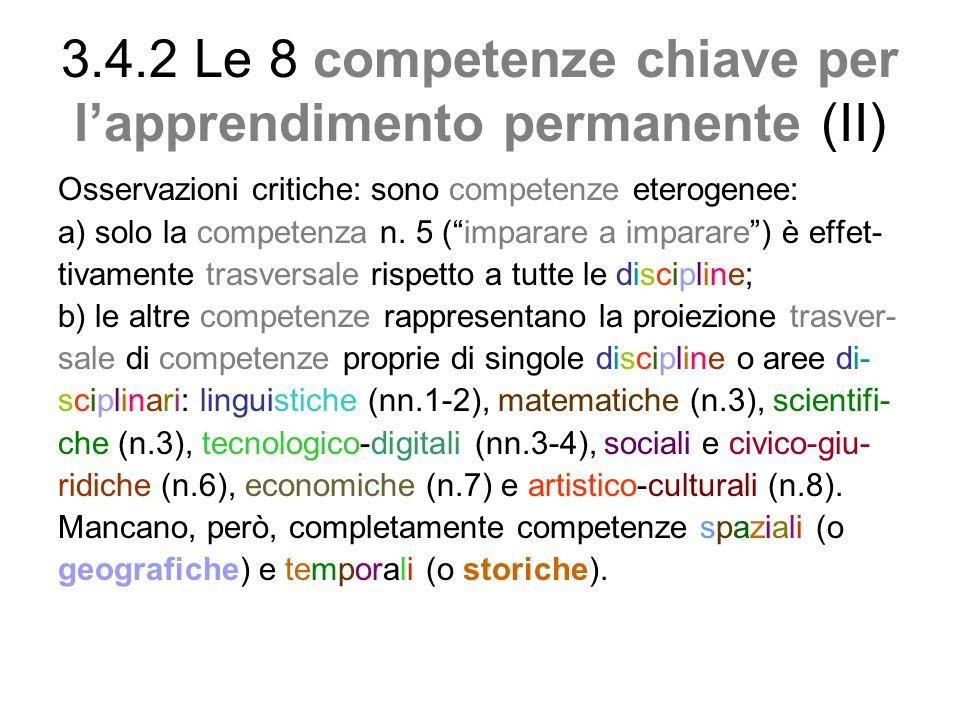 3.4.2 Le 8 competenze chiave per l'apprendimento permanente (II)