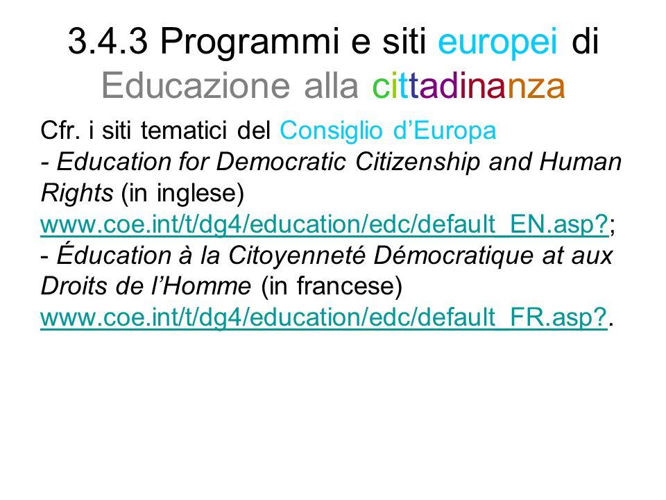 3.4.3 Programmi e siti europei di Educazione alla cittadinanza