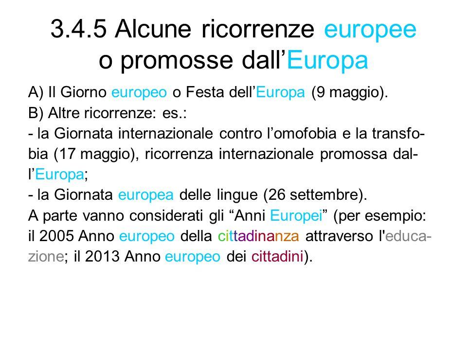 3.4.5 Alcune ricorrenze europee o promosse dall'Europa