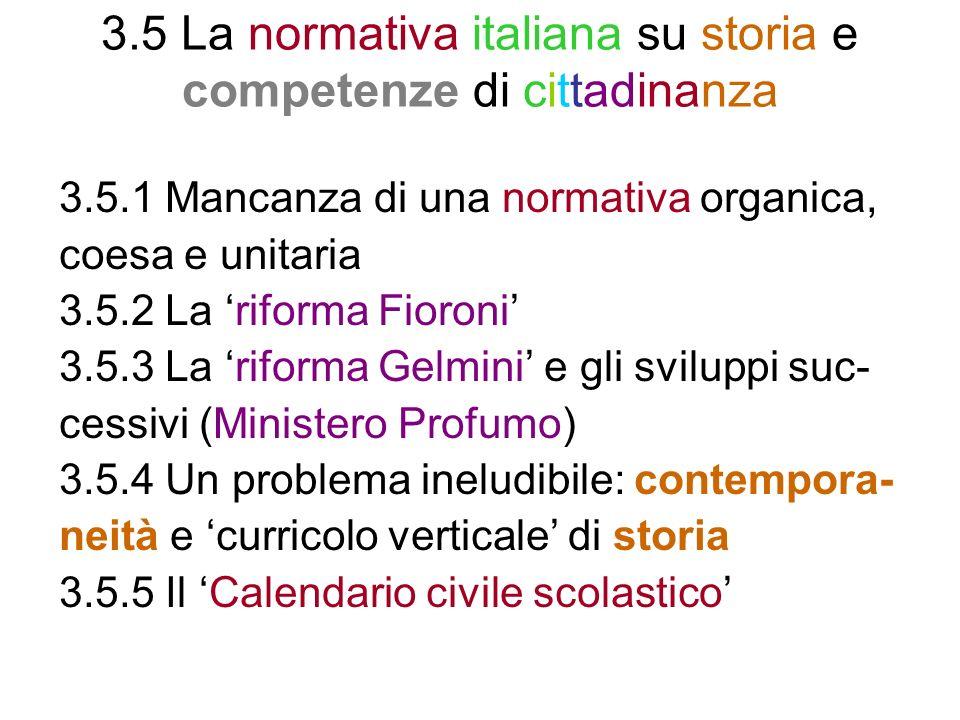 3.5 La normativa italiana su storia e competenze di cittadinanza
