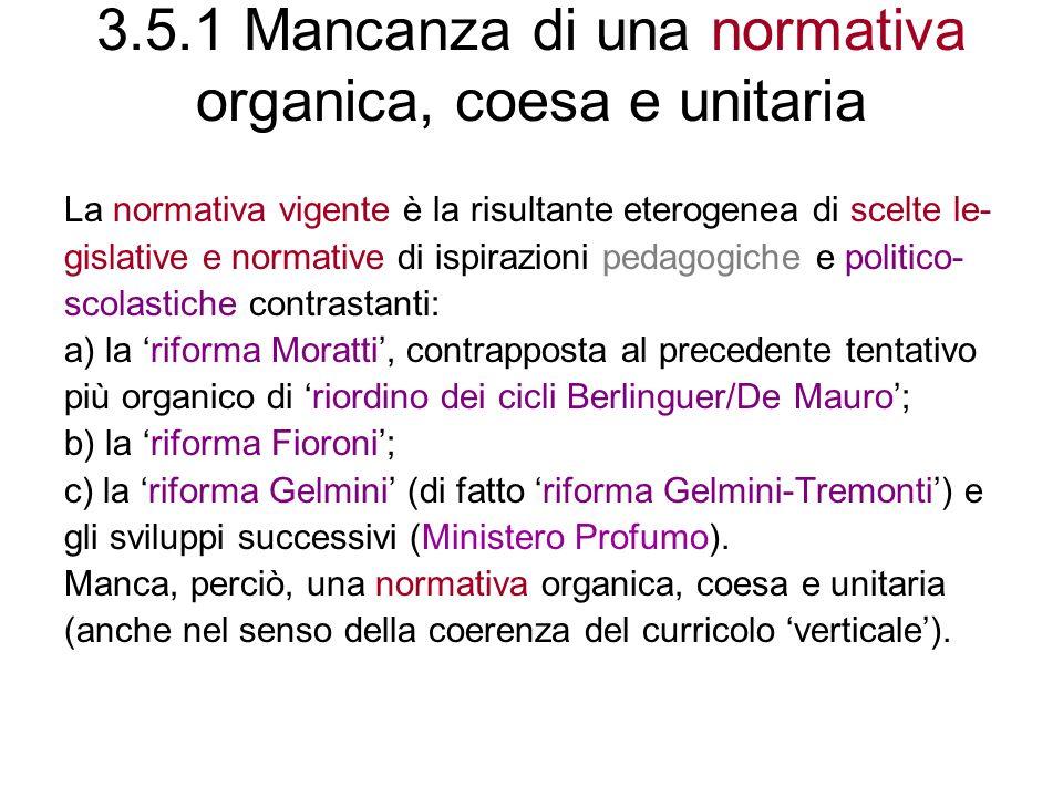 3.5.1 Mancanza di una normativa organica, coesa e unitaria