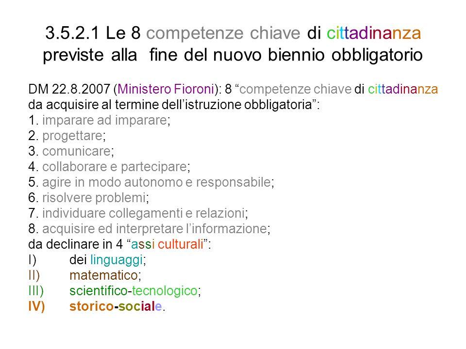 3.5.2.1 Le 8 competenze chiave di cittadinanza previste alla fine del nuovo biennio obbligatorio