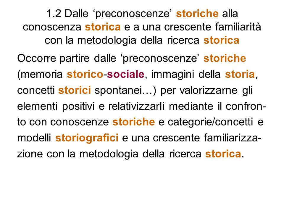 1.2 Dalle 'preconoscenze' storiche alla conoscenza storica e a una crescente familiarità con la metodologia della ricerca storica