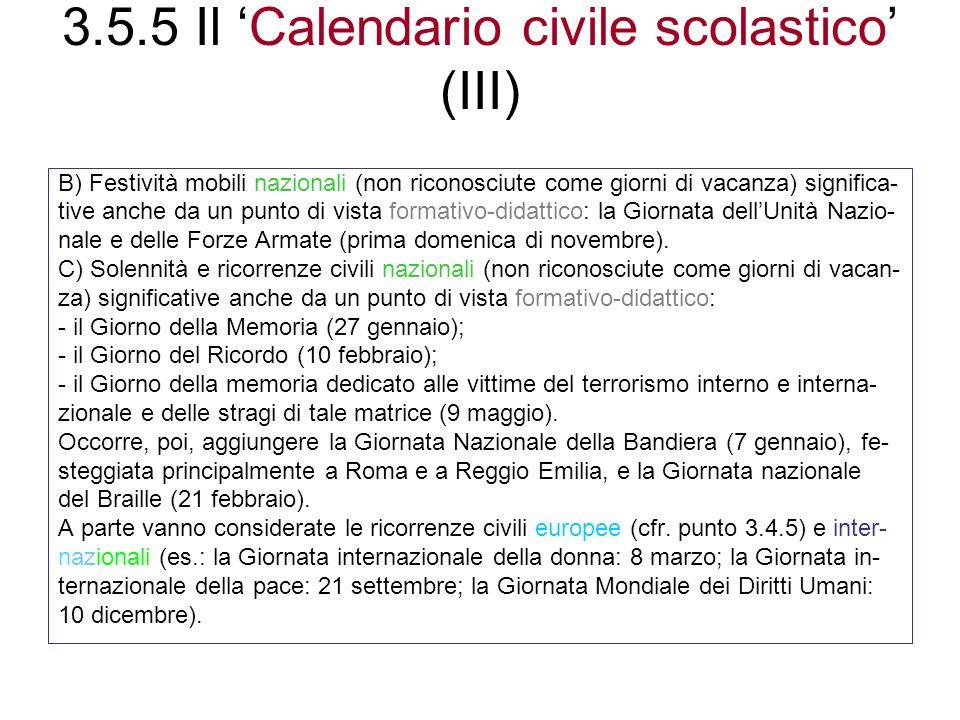 3.5.5 Il 'Calendario civile scolastico' (III)