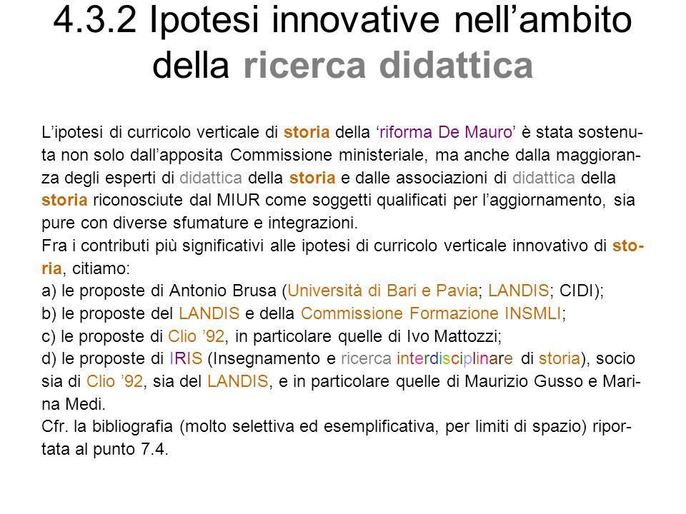 4.3.2 Ipotesi innovative nell'ambito della ricerca didattica