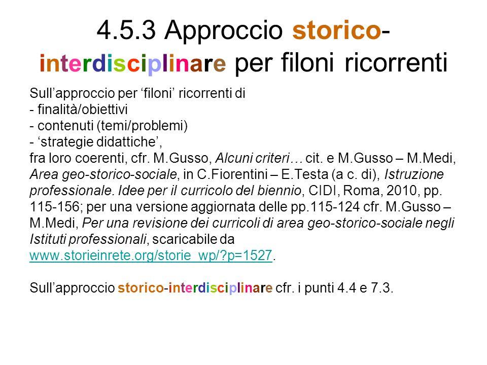 4.5.3 Approccio storico- interdisciplinare per filoni ricorrenti