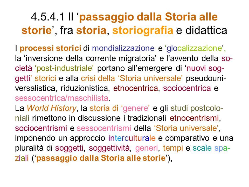 4.5.4.1 Il 'passaggio dalla Storia alle storie', fra storia, storiografia e didattica