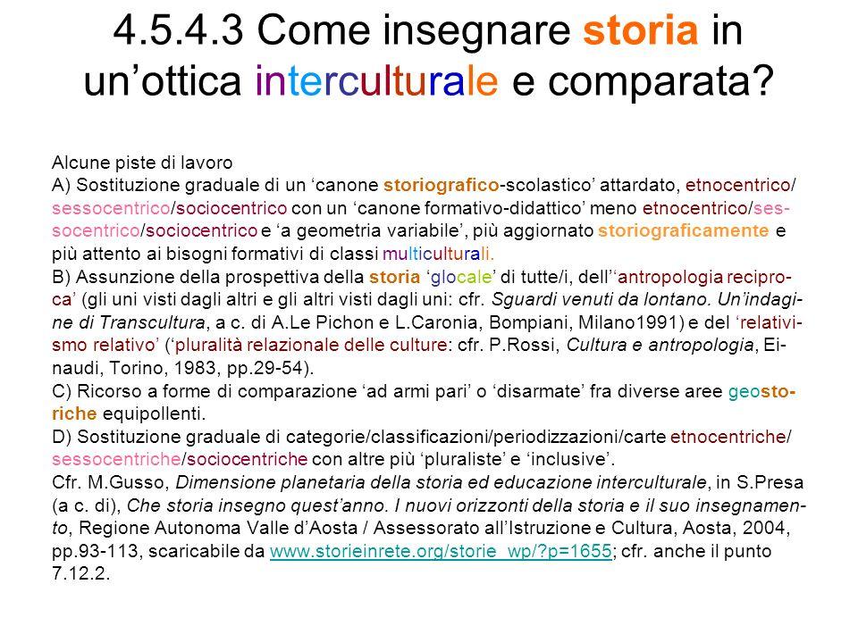 4.5.4.3 Come insegnare storia in un'ottica interculturale e comparata