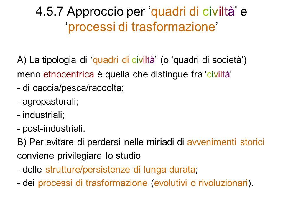 4.5.7 Approccio per 'quadri di civiltà' e 'processi di trasformazione'