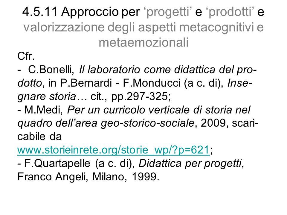 4.5.11 Approccio per 'progetti' e 'prodotti' e valorizzazione degli aspetti metacognitivi e metaemozionali