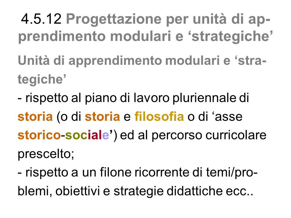 4.5.12 Progettazione per unità di ap-prendimento modulari e 'strategiche'