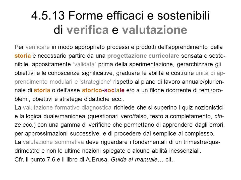 4.5.13 Forme efficaci e sostenibili di verifica e valutazione