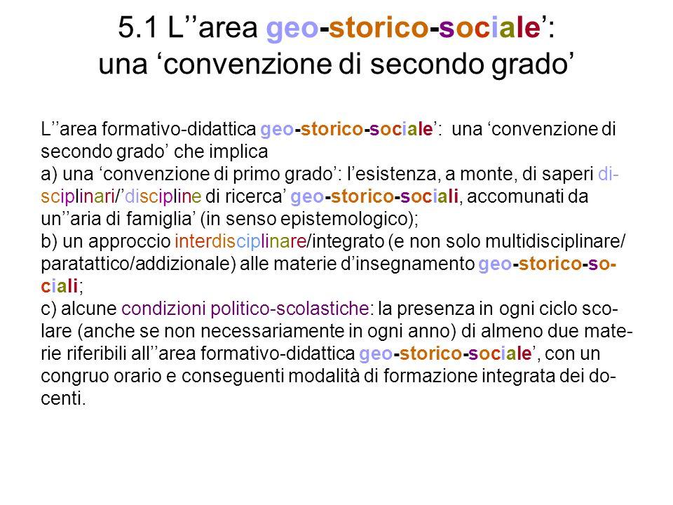 5.1 L''area geo-storico-sociale': una 'convenzione di secondo grado'