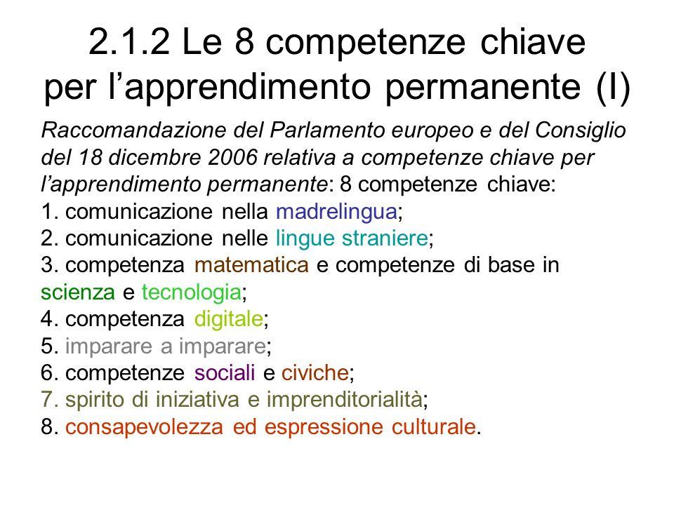 2.1.2 Le 8 competenze chiave per l'apprendimento permanente (I)