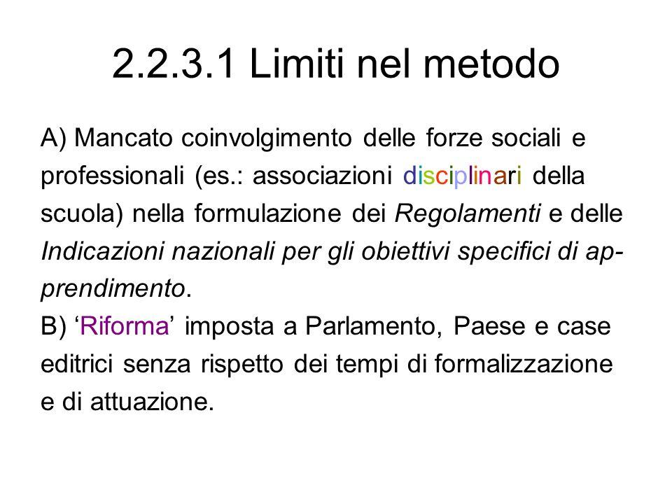 2.2.3.1 Limiti nel metodo A) Mancato coinvolgimento delle forze sociali e. professionali (es.: associazioni disciplinari della.
