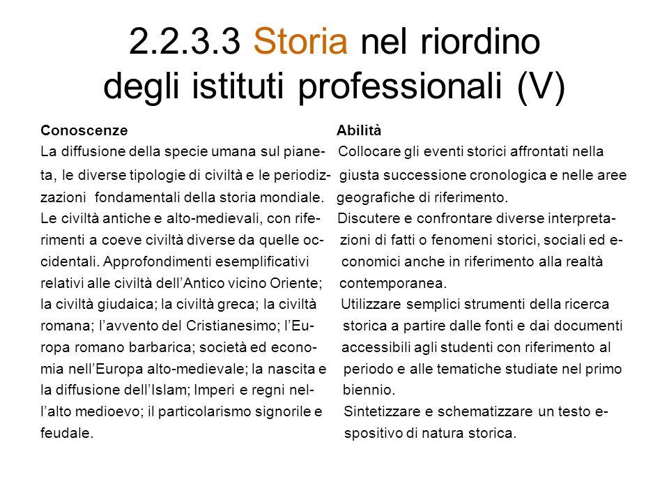 2.2.3.3 Storia nel riordino degli istituti professionali (V)