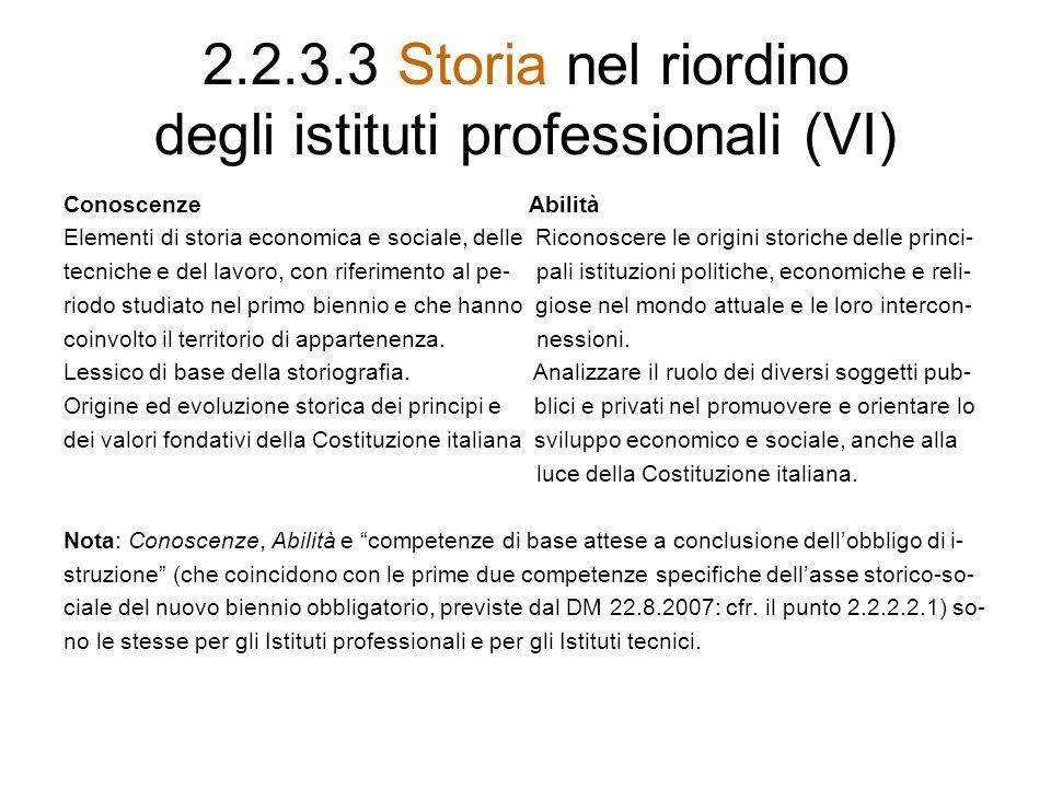 2.2.3.3 Storia nel riordino degli istituti professionali (VI)
