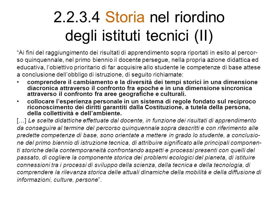 2.2.3.4 Storia nel riordino degli istituti tecnici (II)