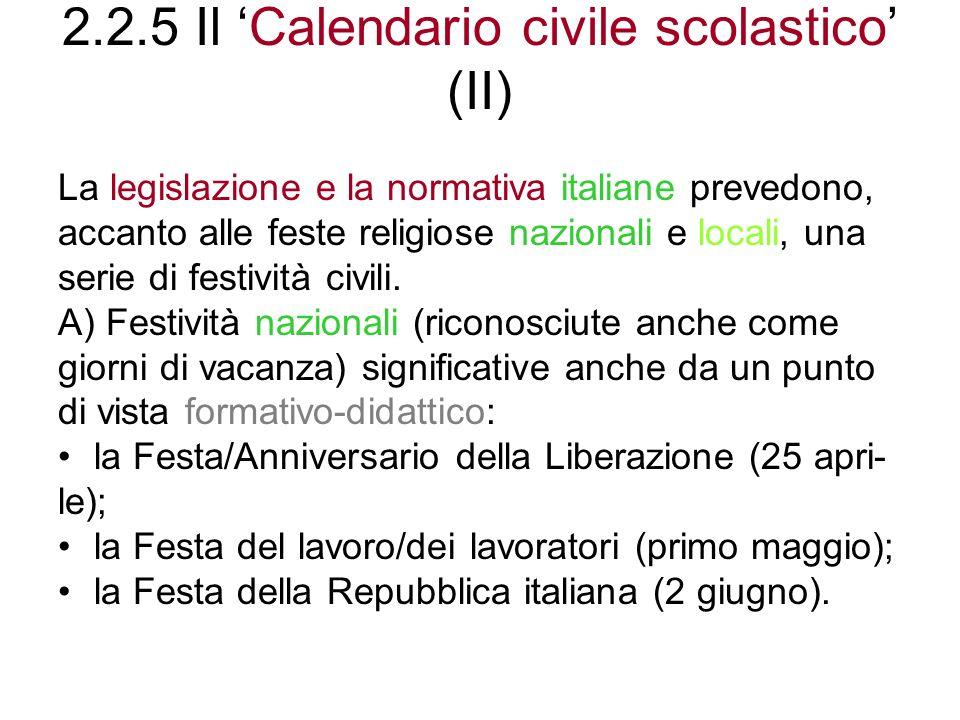 2.2.5 Il 'Calendario civile scolastico' (II)