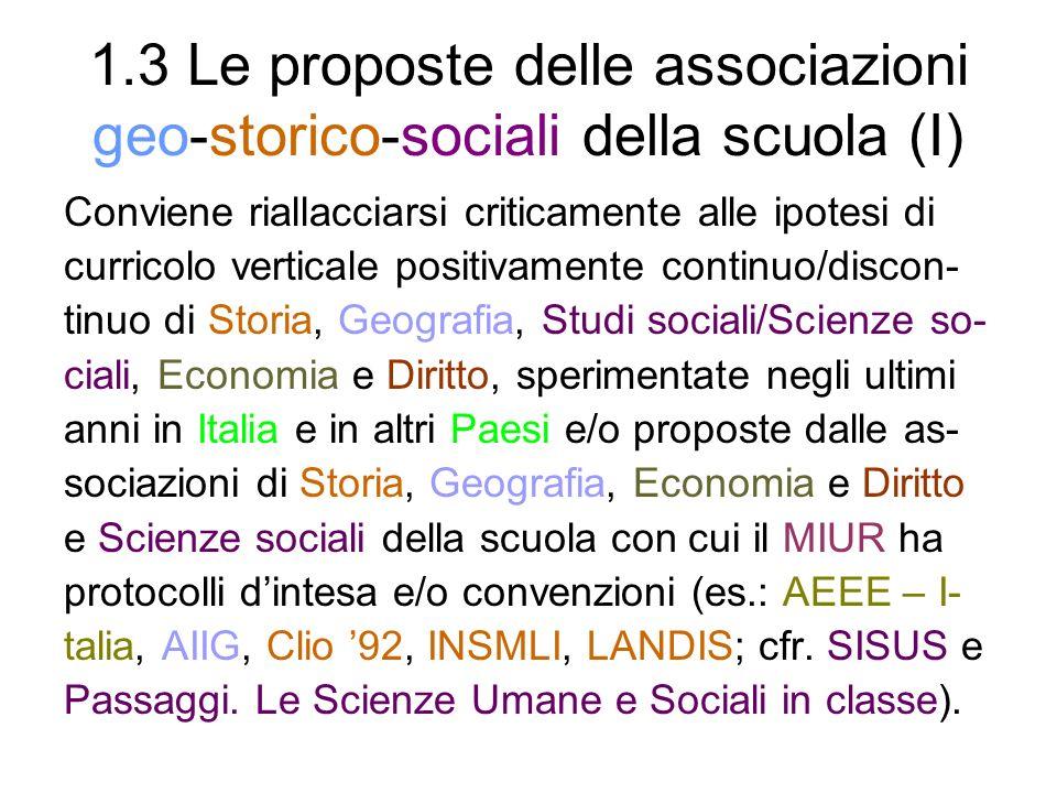 1.3 Le proposte delle associazioni geo-storico-sociali della scuola (I)