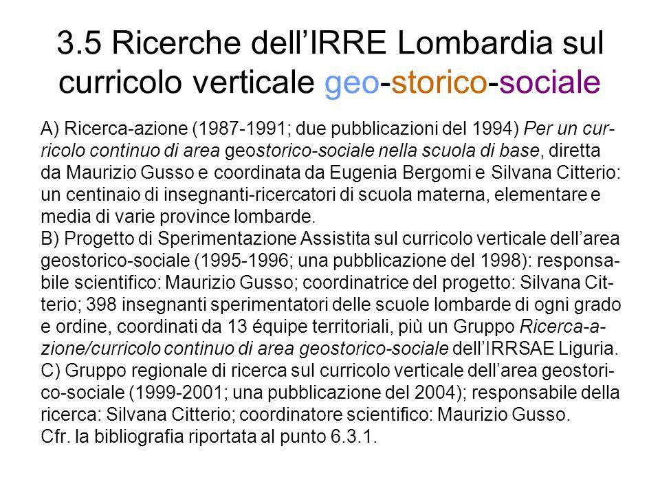 3.5 Ricerche dell'IRRE Lombardia sul curricolo verticale geo-storico-sociale