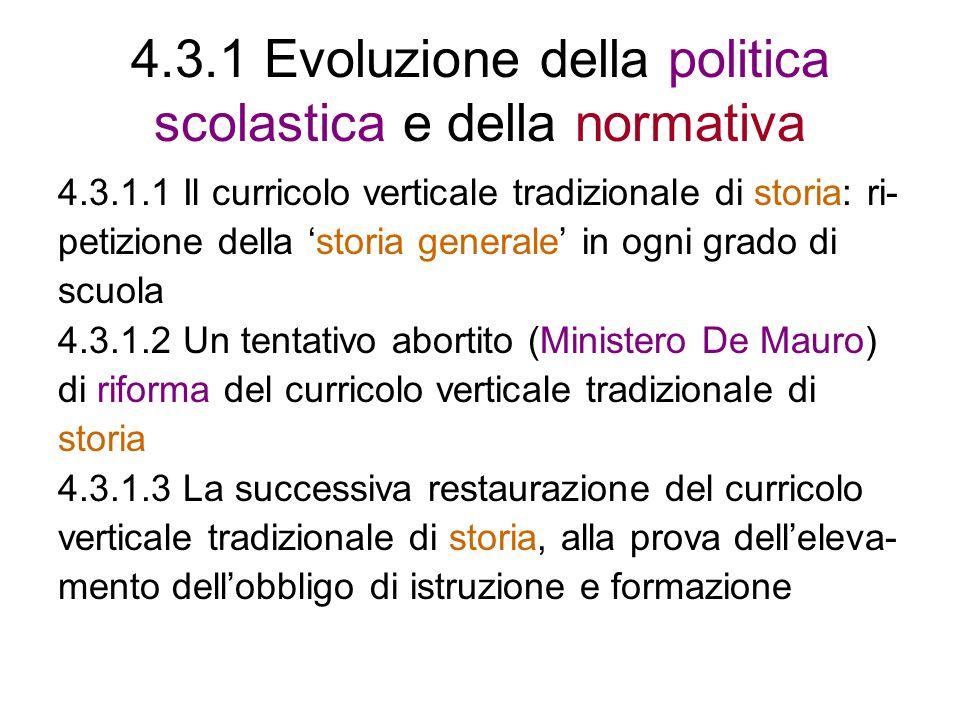 4.3.1 Evoluzione della politica scolastica e della normativa