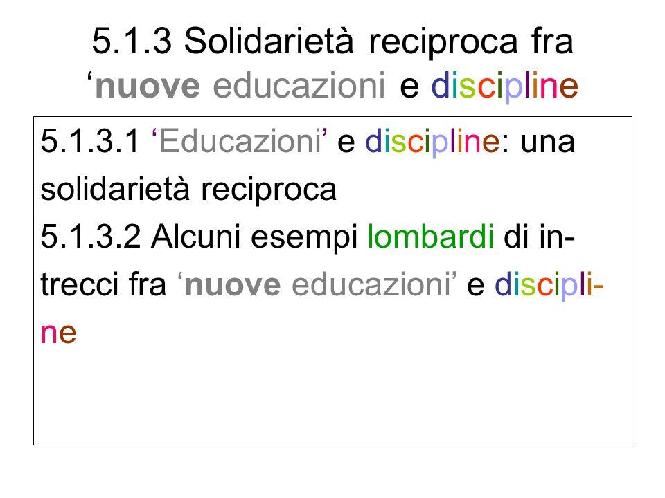 5.1.3 Solidarietà reciproca fra 'nuove educazioni e discipline