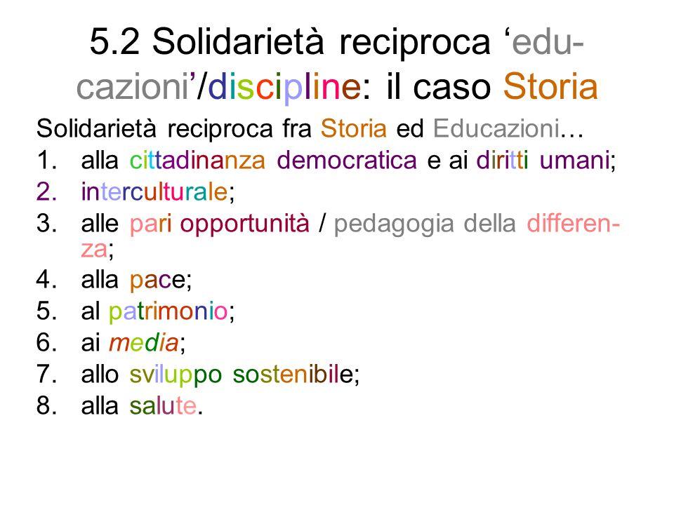 5.2 Solidarietà reciproca 'edu-cazioni'/discipline: il caso Storia