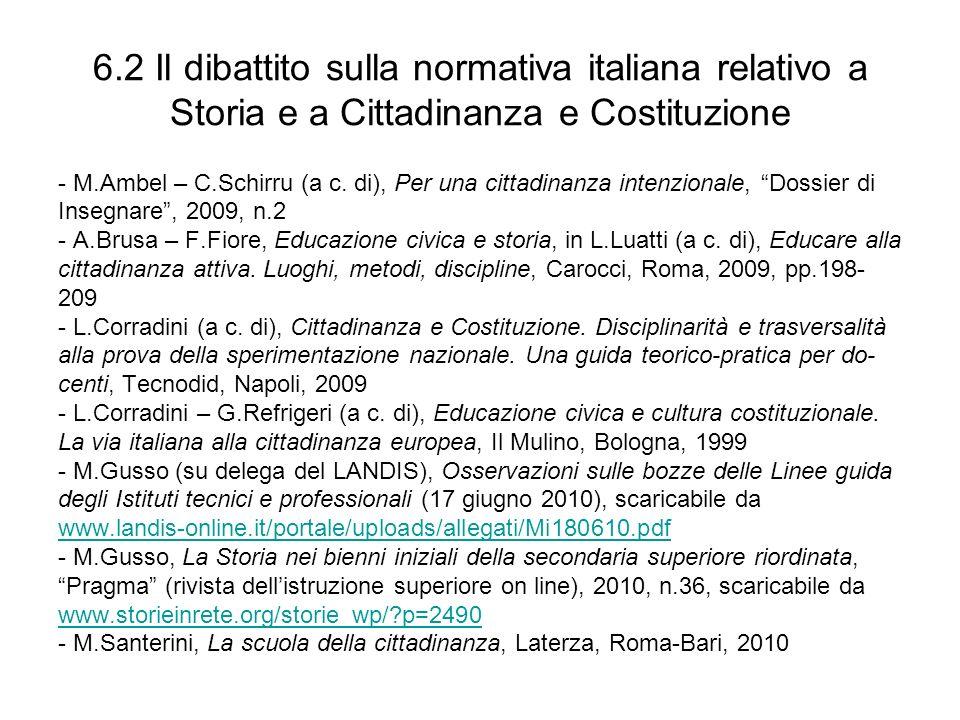6.2 Il dibattito sulla normativa italiana relativo a Storia e a Cittadinanza e Costituzione