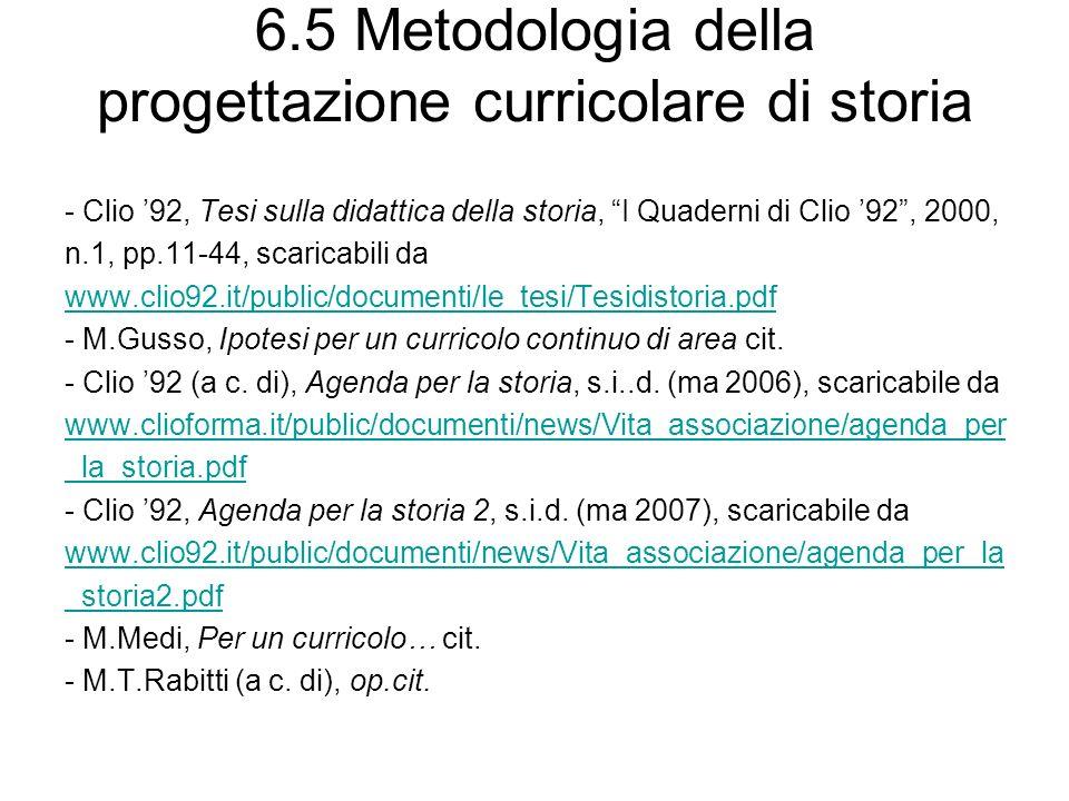 6.5 Metodologia della progettazione curricolare di storia