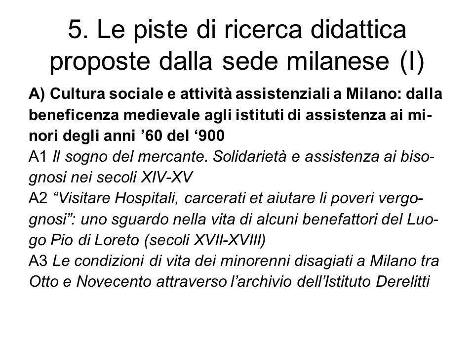 5. Le piste di ricerca didattica proposte dalla sede milanese (I)