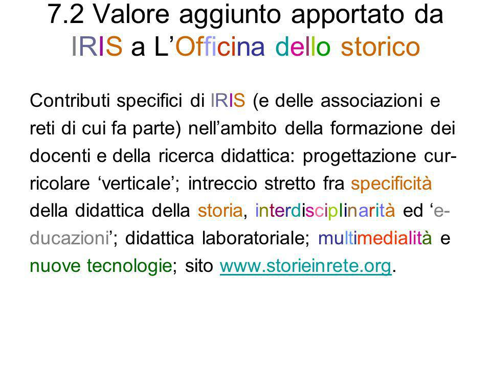 7.2 Valore aggiunto apportato da IRIS a L'Officina dello storico