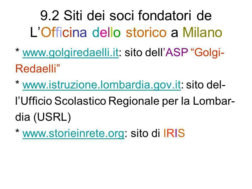 9.2 Siti dei soci fondatori de L'Officina dello storico a Milano