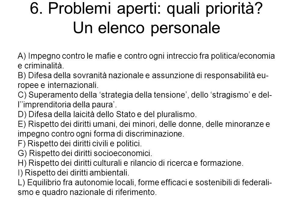 6. Problemi aperti: quali priorità Un elenco personale