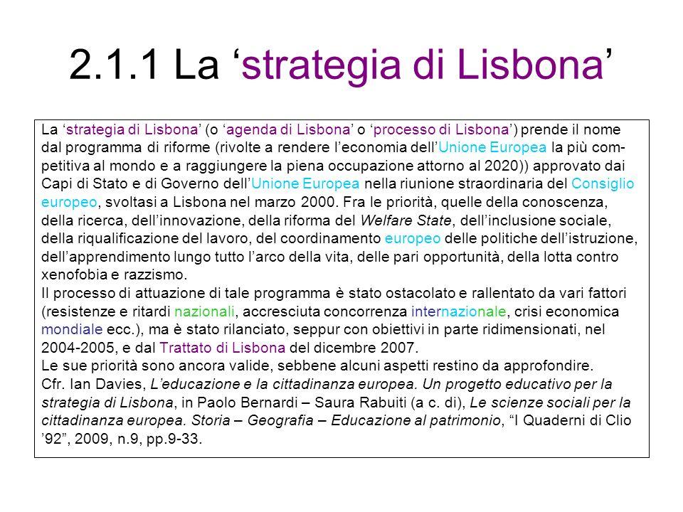 2.1.1 La 'strategia di Lisbona'