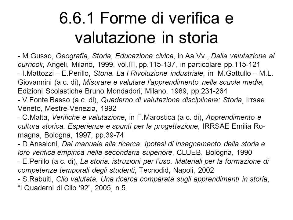 6.6.1 Forme di verifica e valutazione in storia