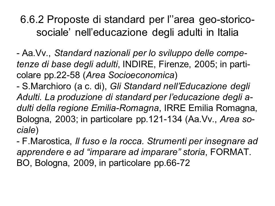 6.6.2 Proposte di standard per l''area geo-storico- sociale' nell'educazione degli adulti in Italia