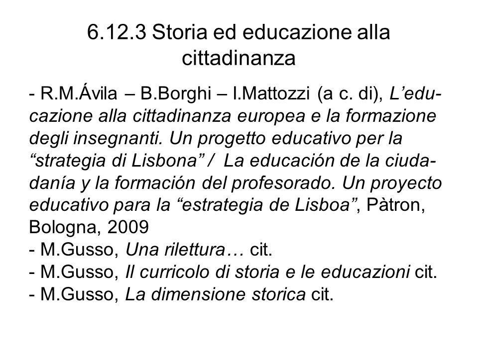6.12.3 Storia ed educazione alla cittadinanza