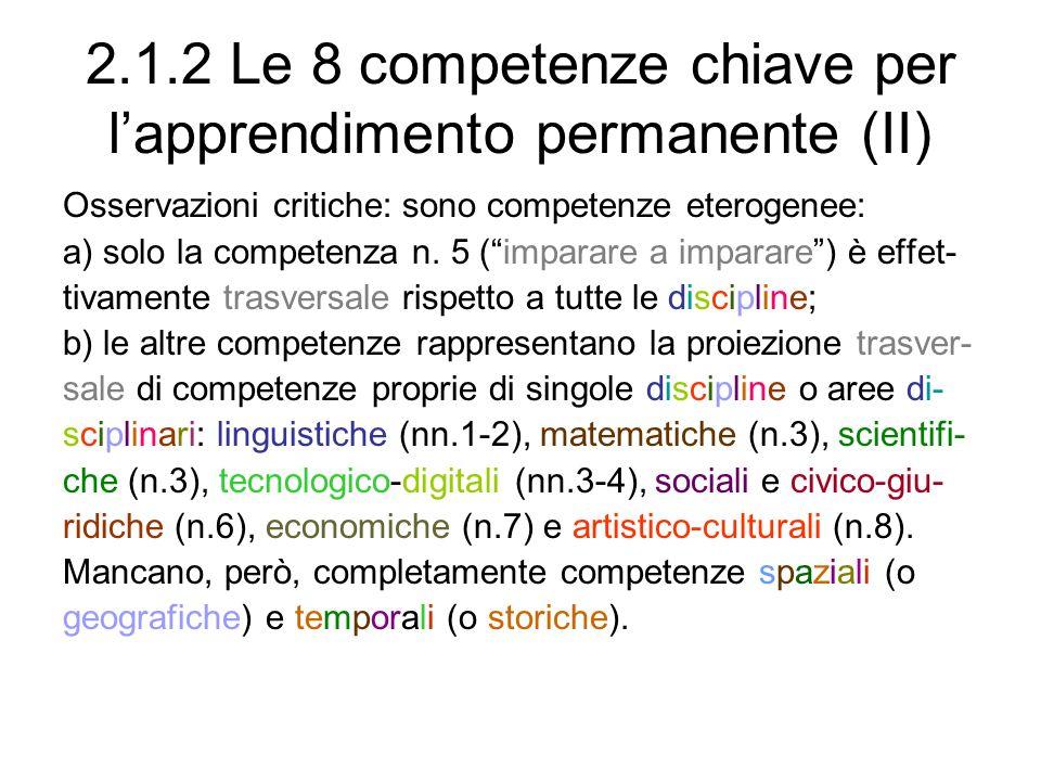 2.1.2 Le 8 competenze chiave per l'apprendimento permanente (II)