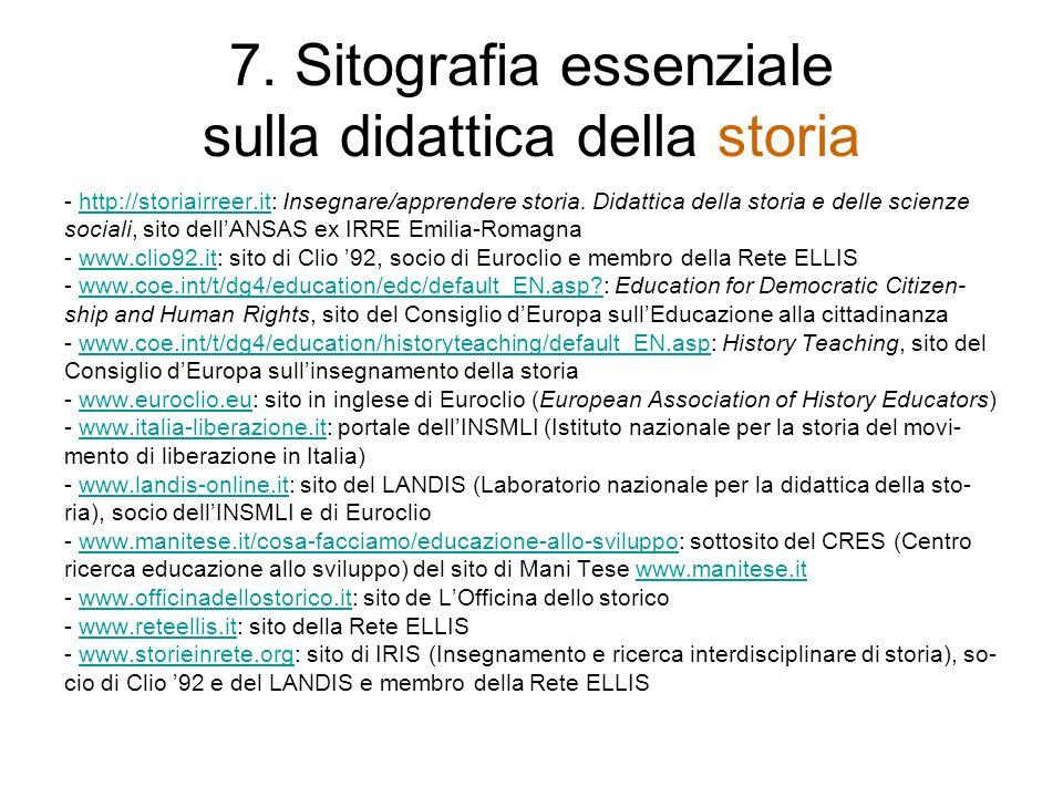 7. Sitografia essenziale sulla didattica della storia
