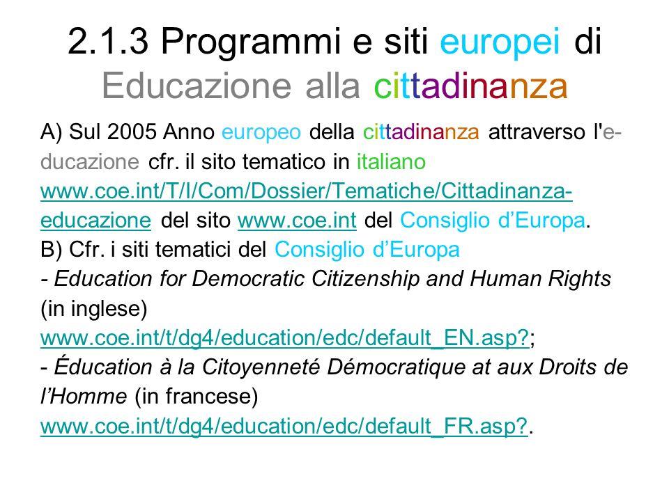 2.1.3 Programmi e siti europei di Educazione alla cittadinanza